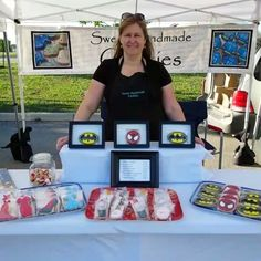 I am at the #bradfordfarmersmarket today with dress cookies, high heel shoe cookies, lipstick, nail polish and perfume bottle cookies and my character cookies are Batman and Spiderman.  #fashioncookies #makeupcookies #makeup #batmancookies #batman #spidermancookies #spiderman