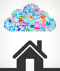 Home on Modern Technology & Communication Cloud vector art illustration