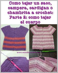 Como tejer un saco, campera, cardigan o chambrita a crochet o ganchillo desde el canesu24
