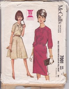 McCall's 7001 | Half Size Dress with Slim or Full Skirt [1960s]. (Bust 33-43)