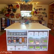 This is an easy to make crafting table using bookcases and hollow core/dcc