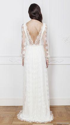 divine atelier 2016 bridal gowns long sleeves illusion boat v neckline romantic bohemian lace a line wedding dress low v back brush train (asia) bv