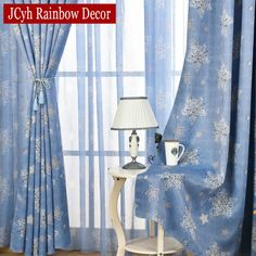 Blue Sky Stars Modern Cartoon Rainbow Blackout Curtains For Bedroom Curtains For Kids Cartoon Window Curtains For Living Room Tulle Curtains, Window Curtains, Kids Room Curtains, Bedroom Curtains, Curtain Length, Rainbow Decorations, Ceiling Installation, Colorful Curtains