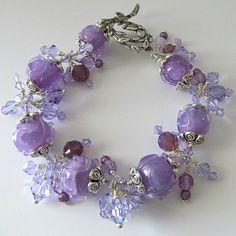 Lampwork bracelet Alexandrite color changing crystals silver