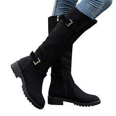 3f051e9183e Teresamoon Womens Knee High Calf Biker Boots Ladies Zip