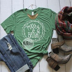 Christmas Tee - Merry and Bright Tee - Cute Women's Tee - Soft Christmas Tee - Women's Christmas Shirt - Christmas Clothing - Holiday Tee