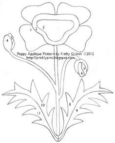 Prickly Pins: Poppy Applique Pattern by Kathy Grimm Flower Applique Patterns, Applique Templates, Applique Designs, Quilting Designs, Owl Templates, Felt Patterns, Shabby Chic Quilt Patterns, Shabby Chic Quilts, Vintage Quilts