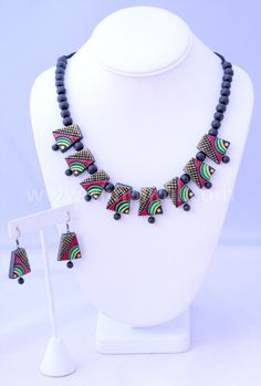 Terracotta Chunky Choker Black Necklace and Earring set