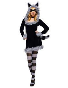 Sexy Waschbär Damen Kostüm schwarz-grau - Artikelnummer: 572300000