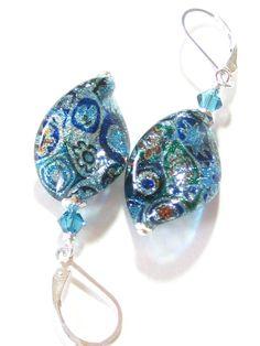 Italian Glass Aqua Sparkle Twist Silver Earrings by JKCJewels, $32.00
