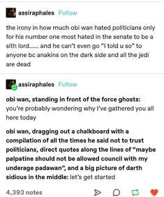 Star Wars Art, Star Trek, Stupid Funny Memes, Hilarious, Star Wars Jokes, The Force Is Strong, Obi Wan, Clone Wars, Tumblr Funny