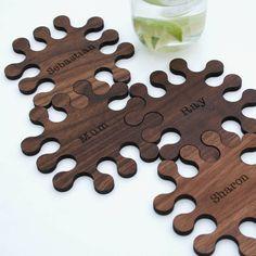 Personalised Solid Walnut Jigsaw Coasters