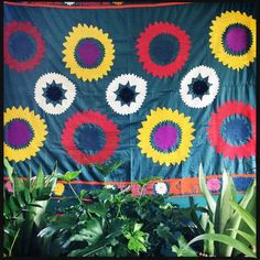 """""""Red and Yellow Frangipani"""" – Honorooroo Lifestyle Bohemian Look, Boho Chic, Wool Thread, Boho Designs, Vintage Embroidery, Chain Stitch, Beautiful Hands, Lifestyle Online, Tablecloths"""