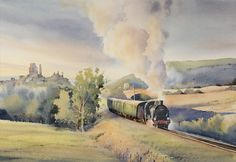 Steaming Ahead......... Art Watercolor, Watercolor Landscape, Heritage Railway, Corfe Castle, The Day Will Come, Mountain Man, Art Pictures, Art Pics, Original Paintings
