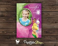 Disney Tinkerbell Invitation, Tinkerbell Invitation card, DIY printable card, Disney Birthday Party, Disney Invitation, Disney printable.