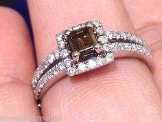 1 Carat Natural Emerald Cut Chocolate Diamond Halo Ring -WATCH VIDEO-