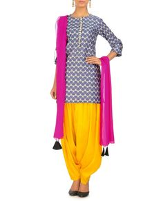 PAYAL SINGHAL Navy Geometric Print Kurta Set with Hot Pink Dupatta