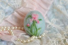 Beautiful Easter Egg with Pink Iris, OOAK, Handmade by Cynthia Foust Wolfe on Etsy, $20.00