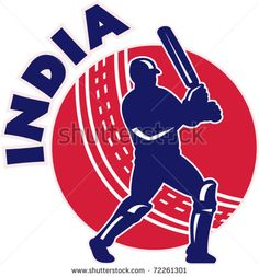 """vector illustration of a cricket batsman silhouette batting front view with ball in background done in retro style with words """"India"""" - stock vector Cricket Bat, Cricket World Cup, Olympic Sports, Sports Art, Art Logo, Royalty Free Images, Retro Fashion, Retro Illustration, Logos"""