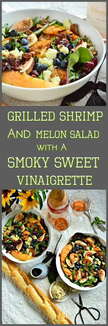 This special grilled shrimp and melon summer salad with is easily made. Feel free to substitute fruits and spices and make this your own. This smoky and sweet vinaigrette with a hint of spice will become a quick favorite! #salad #vinaigrette #shrimp #entree www.thisishowicook.com