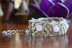 Rose Quartz & Hemp Macramé Bracelet by TravelingSeven on Etsy