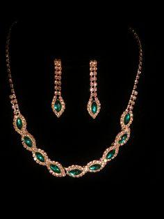 jewelry, green, gold, earring, necklace, set, tear drop, emerald  Visit:  http://www.gladisparkle.com