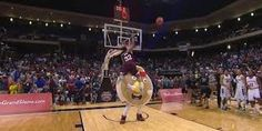 Pancake Mascot Gets Kicked in Face, Twice, In Failed College Dunk Contest Attempt