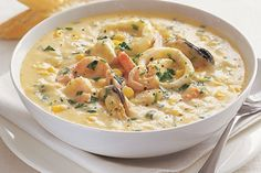 A chowder is a stew or thickened soup. It can be served as a meal on it's own or as a starter. It is especially good when served with crusty bread.