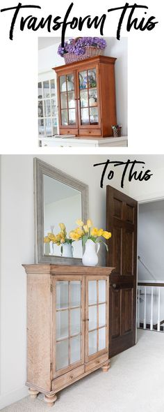 Hand-me-down-furniture-makeover-that-doesn't-require-paint. It uses simple to add wooden bun feet. Easy furniture makeover