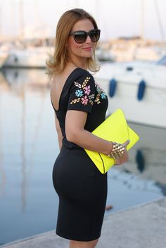 little black beaded dress, Chi Chi regina dress, neon yellow clutch, Fashion and…