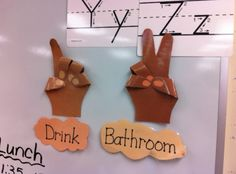 Post your hand signals on the board for students to follow.