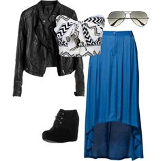 Untitled #37 - Polyvore I love this girly outfit paired with a rocker jacket