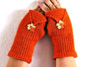 Knit Arm Warmers Knit Fingerless Gloves Knit Wrist Warmers Fingerless Mittens Knit Hand Warmers Gauntlets Knit Gloves Orange Yellow Brown