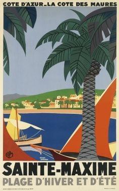 Cartaz de outro destino francês: Sainte-Maxime, cidade no litoral da Riviera Francesa retratada em 1929 pelo famoso ilustrador Roger Broders. Estima-se que o trabalho seja vendido por até 6 mil dólares (R$ 13 mil)