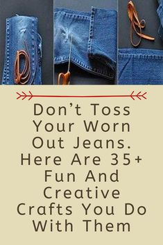 Upcycled Crafts, Diy Crafts To Sell, Handmade Crafts, Sewing Hacks, Sewing Crafts, Sewing Projects, Jean Crafts, Paper Crafts, Repurpose