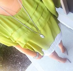 Green Blouse + White Mini Skirt + Gray Suede Pumps