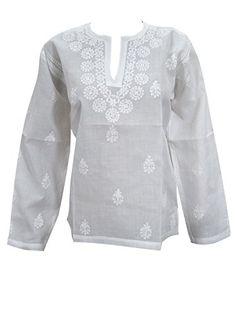 White Boho Blouse Tops Floral Embroidered Cotton Summer Tunic Kurta M Sz Mogul Interior http://www.amazon.com/dp/B012A6L1H2/ref=cm_sw_r_pi_dp_29.Rvb1G15PAQ
