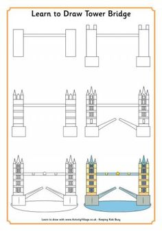 Learn to Draw Tower Bridge. This is just one of the Learn to Draw London Landmarks examples on this page, and the website has many other Learn to Draw themed pages (over 350)