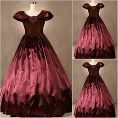 Petite - Plus Size Women Burgundy Civil War Southern Belle Ball Dress SKU-301032