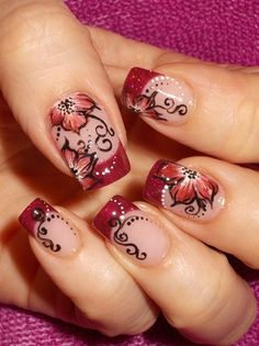 Nude nails, red french manicure tips, Red floral one stroke painting technique, red flowers, black free hand scroll work nail art