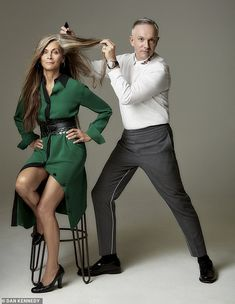 Christa D Souza (pictured left with Josh Wood) shared the decision to begin transitioning her brunette hair to its natural grey colour gray transition ideas for brunettes Blonde Hair Going Grey, Grey Hair Old, Going Blonde From Brunette, Long Gray Hair, Silver Grey Hair, Brown Blonde Hair, Brunette Hair, Grey Hair Before And After, Going Gray Gracefully