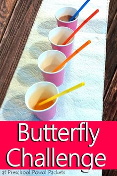 Such a fun way to learn about butterflies!! A butterfly food challenge!! Awesome science sensory lesson for preschool and kindergarten/elementary aged kiddos!