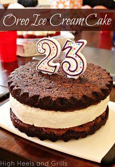 Oreo Ice Cream Cake. Perfect birthday cake for the oreo lover. #recipe #dessert http://www.highheelsandgrills.com/2013/07/oreo-ice-cream-cake.html