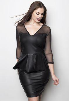 Faux Leather Peplum Dress - Shop Women's Missy & Plus Size Clothing