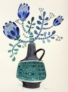Watercolor Illustration, Watercolor Art, Painting Inspiration, Art Inspo, Flower Doodles, Motif Floral, Abstract Flowers, Botanical Art, Gouache