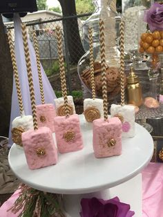 Rice Krispie treats at a chic vintage baby shower! See more party planning ideas at CatchMyParty.com!