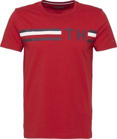 Tommy Hilfiger T-Shirt »STRIPED LOGO GRAPHIC TEE« für 39,90€. Bio-Baumwolljersey, Tommy Hilfiger Flag auf der Vorderseite bei OTTO