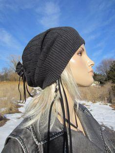Basic Rib Slouch Beanie Hat Cotton Charcoal Gray by Vacationhouse, $36.00