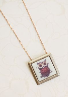"Owl Be Seeing You Indie Necklace 24.99 at shopruche.com. A charming owl print peers out from this casually fashionable brass necklace.18"" long, 1"" L x 1""W pendant"
