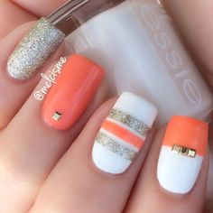 Orange and Silver Nail Art Design Cute Summer Nails, Summer Fun, Spring Nail Art, Orange Nails, Coral Orange, White Nails, Fancy Nails, Get Nails, Love Nails